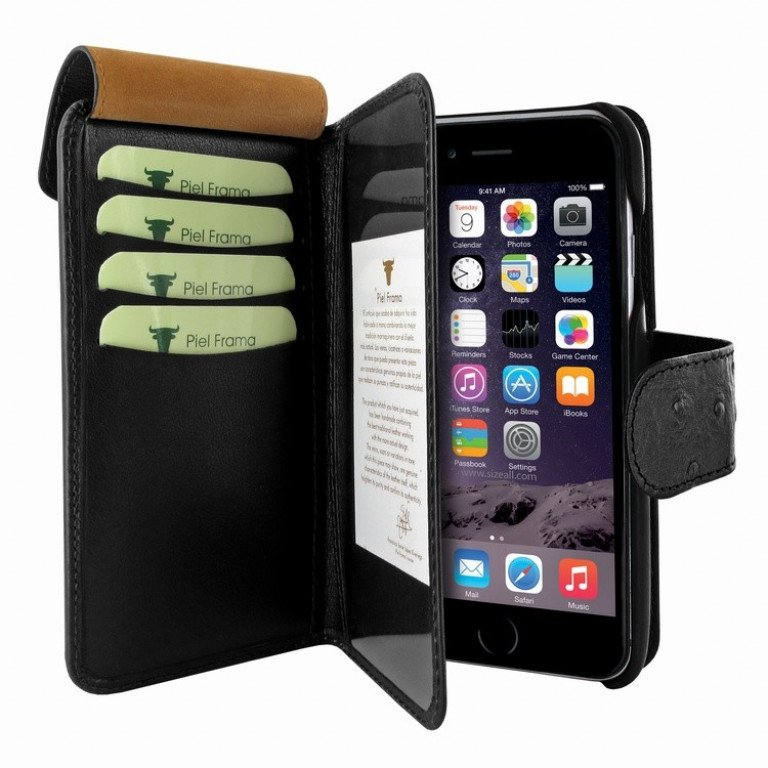 Piel Frama iPhone 7 Plus WalletMagnum Ostrich Black