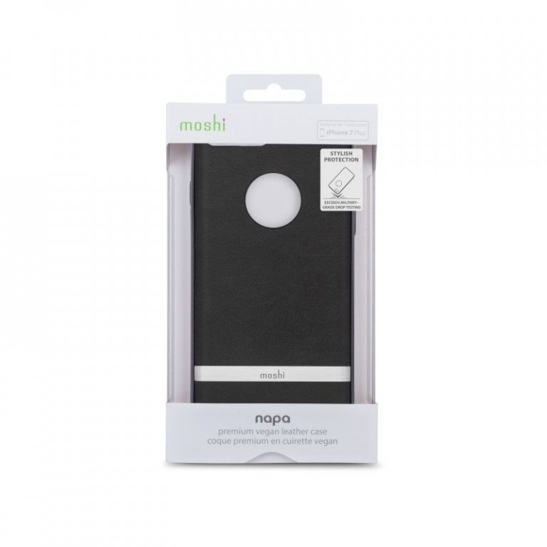 Moshi Napa Leather iPhone 8 / 7 Plus Charcoal Black package