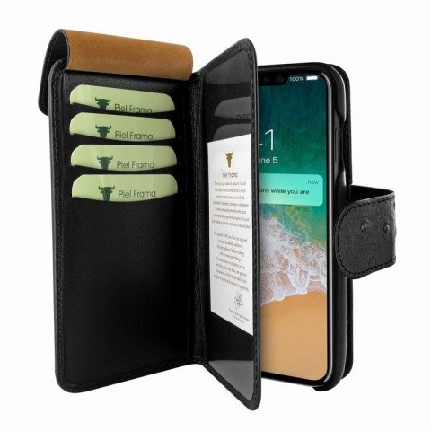 Piel Frama iPhone X WalletMagnum Ostrich Black