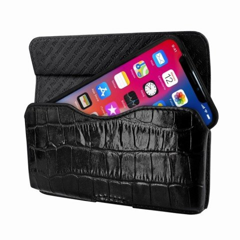 Piel Frama iPhone X Horizontal Pouch Croco Black