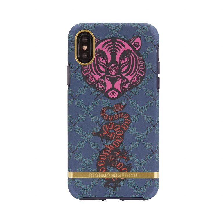 Richmond & Finch Tiger & Dragon - Gold details for iPhone X blue